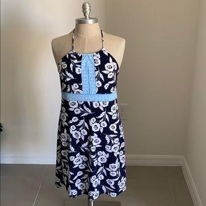 ANN TAYLOR LOFT PETITES FLORAL HALTER DRESS GU 10P